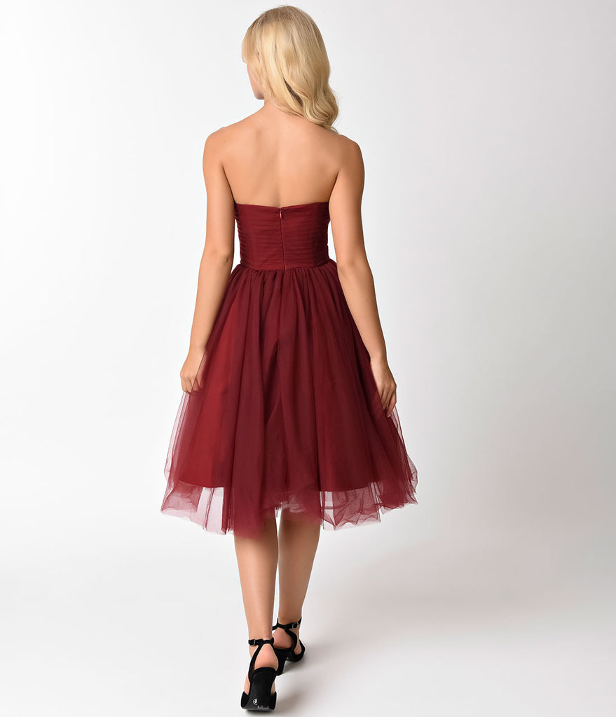 Unique Vintage 1950s Style Burgundy Pleated Mesh Strapless Warner Swing Dress