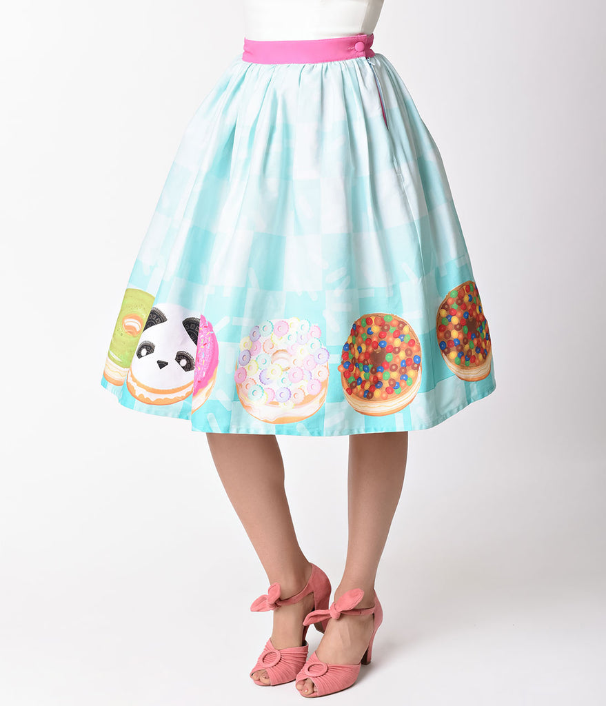 Unique Vintage 1950s Style California Donuts High Waist Swing Skirt