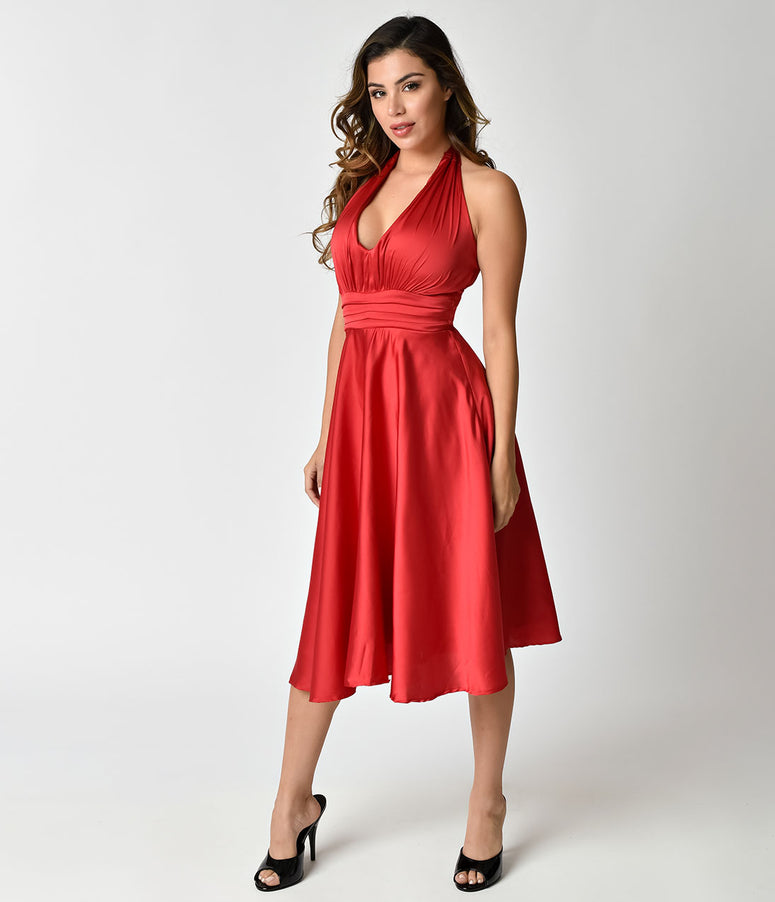 Unique Vintage 1950s Red Satin Halter Hyannis Swing Holiday Dress