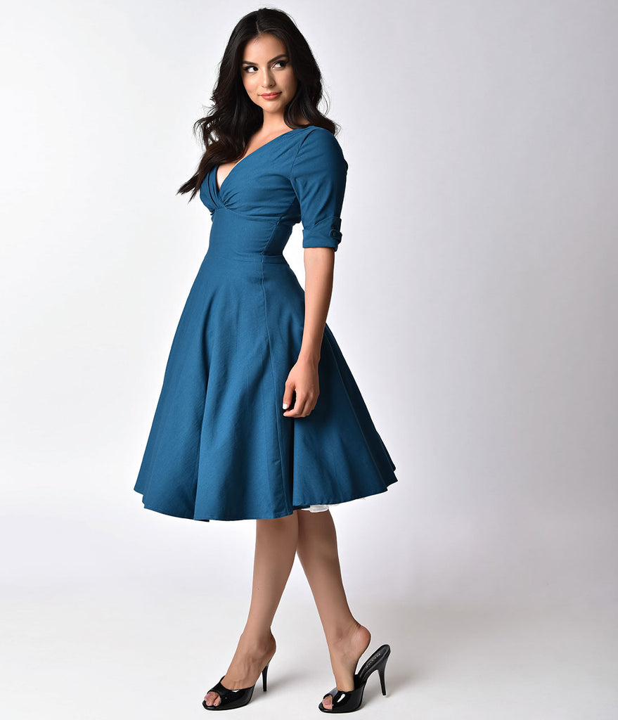 Unique Vintage 1950s Teal Delores Swing Dress with Sleeves