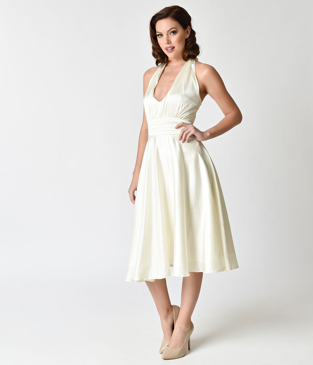 60s Wedding Dress | 1960s Style Wedding Dresses Unique Vintage 1950s Style Ivory Satin Halter Hyannis Swing Dress $98.00 AT vintagedancer.com