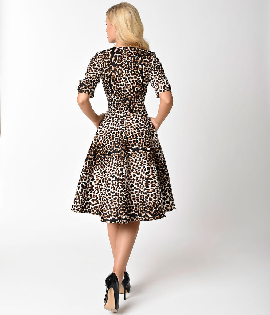 Unique Vintage 1950s Leopard Print Delores Swing Dress with Sleeves