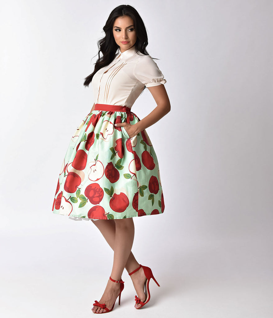 Unique Vintage 1950s Style Mint & Red Apple Bunch Print High Waist Swing Skirt