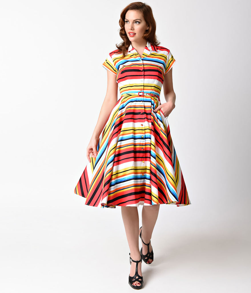 Unique Vintage 1950s Style Multicolor Stripe Short Sleeve Del Rey Shirtdress