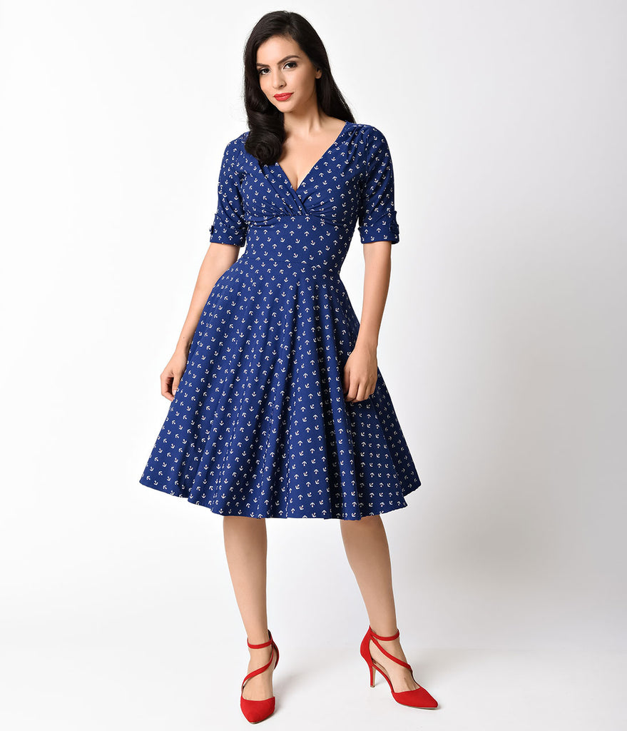 Unique Vintage 1950s Navy Anchor Print Delores Swing Dress with Sleeves