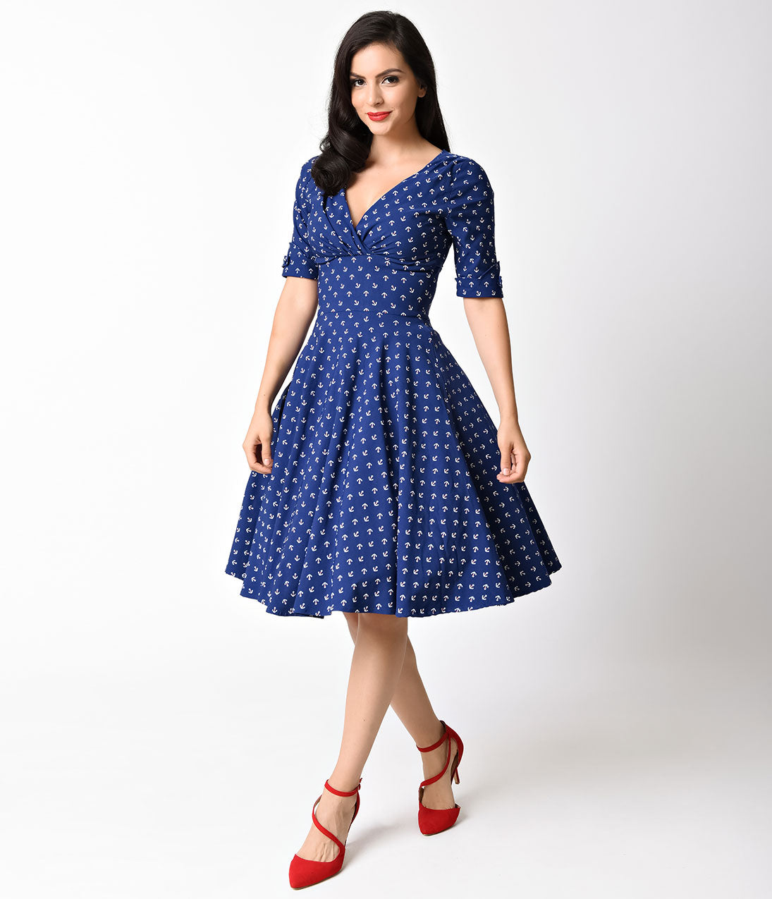 Vintage Polka Dot Dresses – 50s Spotty and Ditsy Prints Unique Vintage 1950s Navy Anchor Print Delores Swing Dress with Sleeves $66.00 AT vintagedancer.com