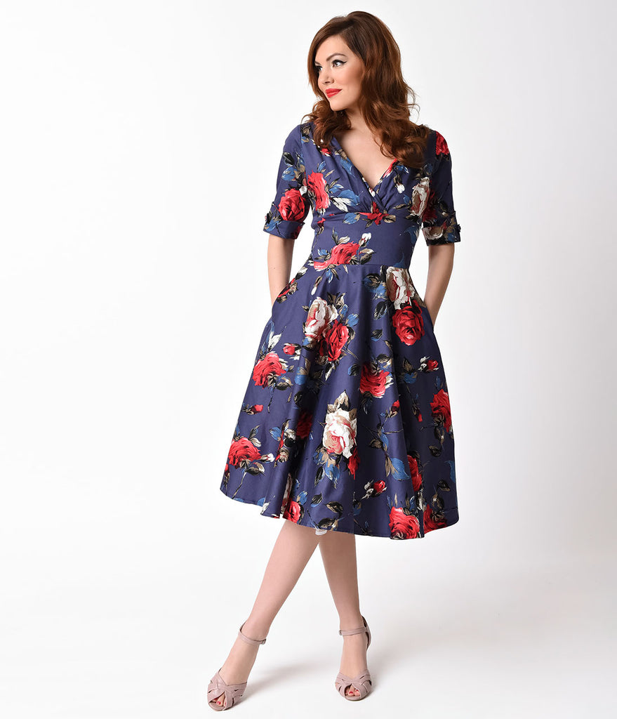 Unique Vintage 1950s Navy & Red Floral Delores Swing Dress with Sleeves