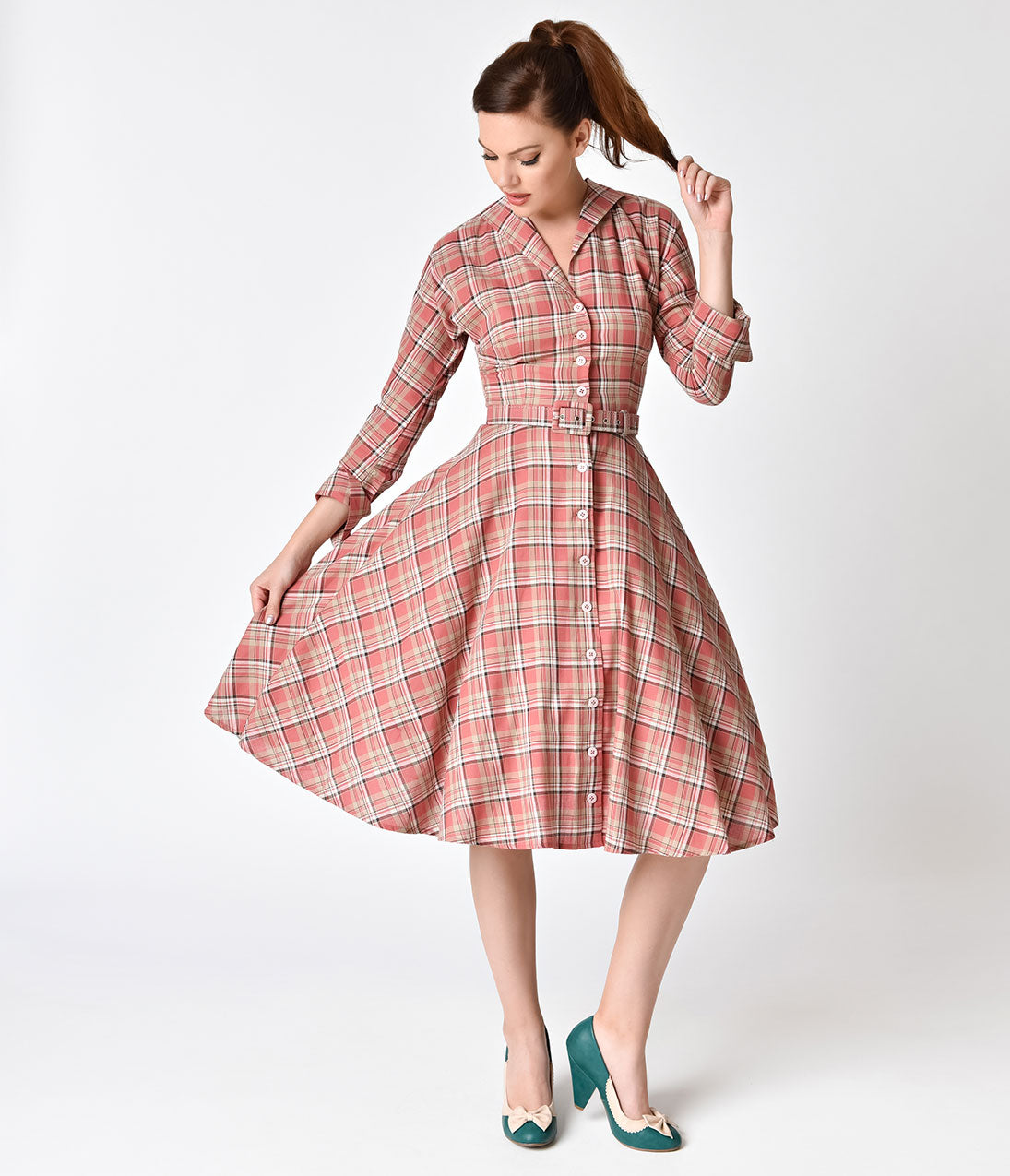 1940s & 1950s Style Shirt Dresses, Shirtwaist Dresses Unique Vintage 1950S Style Pink Plaid Cotton Sleeved Brooklyn Shirtdress $98.00 AT vintagedancer.com
