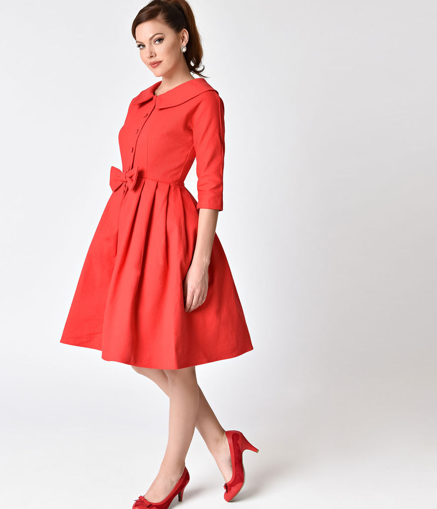 Unique Vintage 1950s Style Red Button Up Sleeved Hedren Coatdress