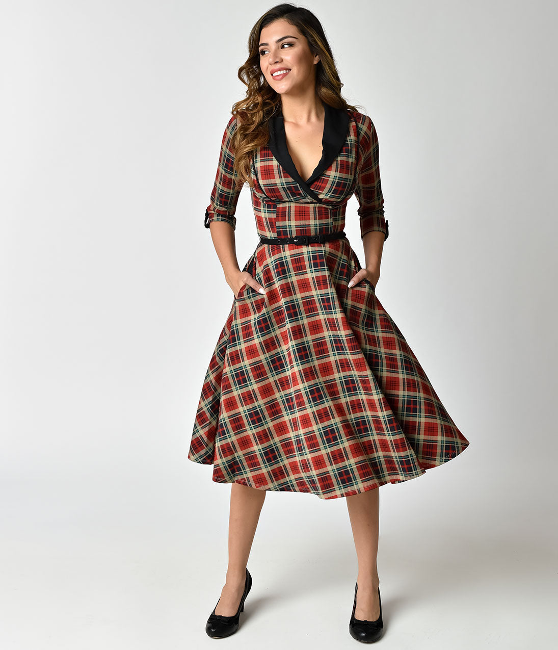 Vintage Christmas Dress | Party Dresses | Night Out Outfits Unique Vintage 1950S Style Red Plaid Three-Quarter Sleeve Trudy Swing Dress $98.00 AT vintagedancer.com