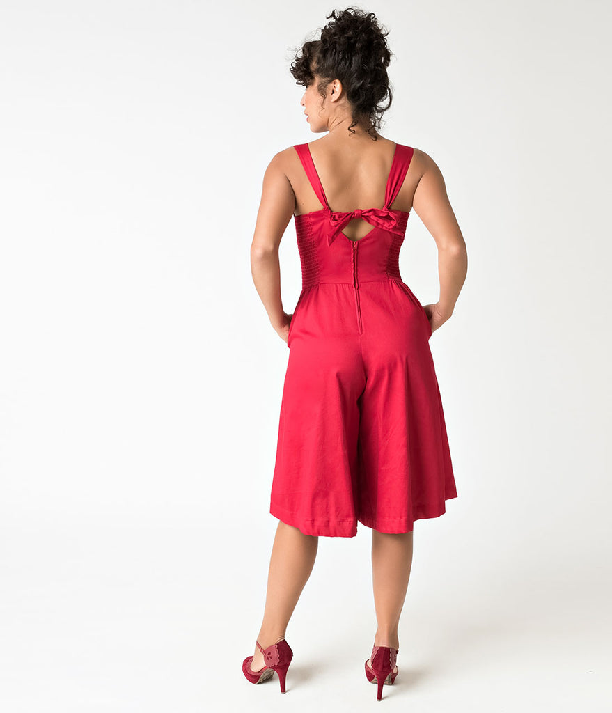 Unique Vintage 1950s Style Red Wide Leg Promenade Jumpsuit