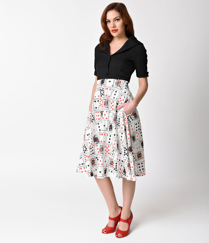 Unique Vintage 1950s Style White & Playing Cards Vivien Swing Skirt