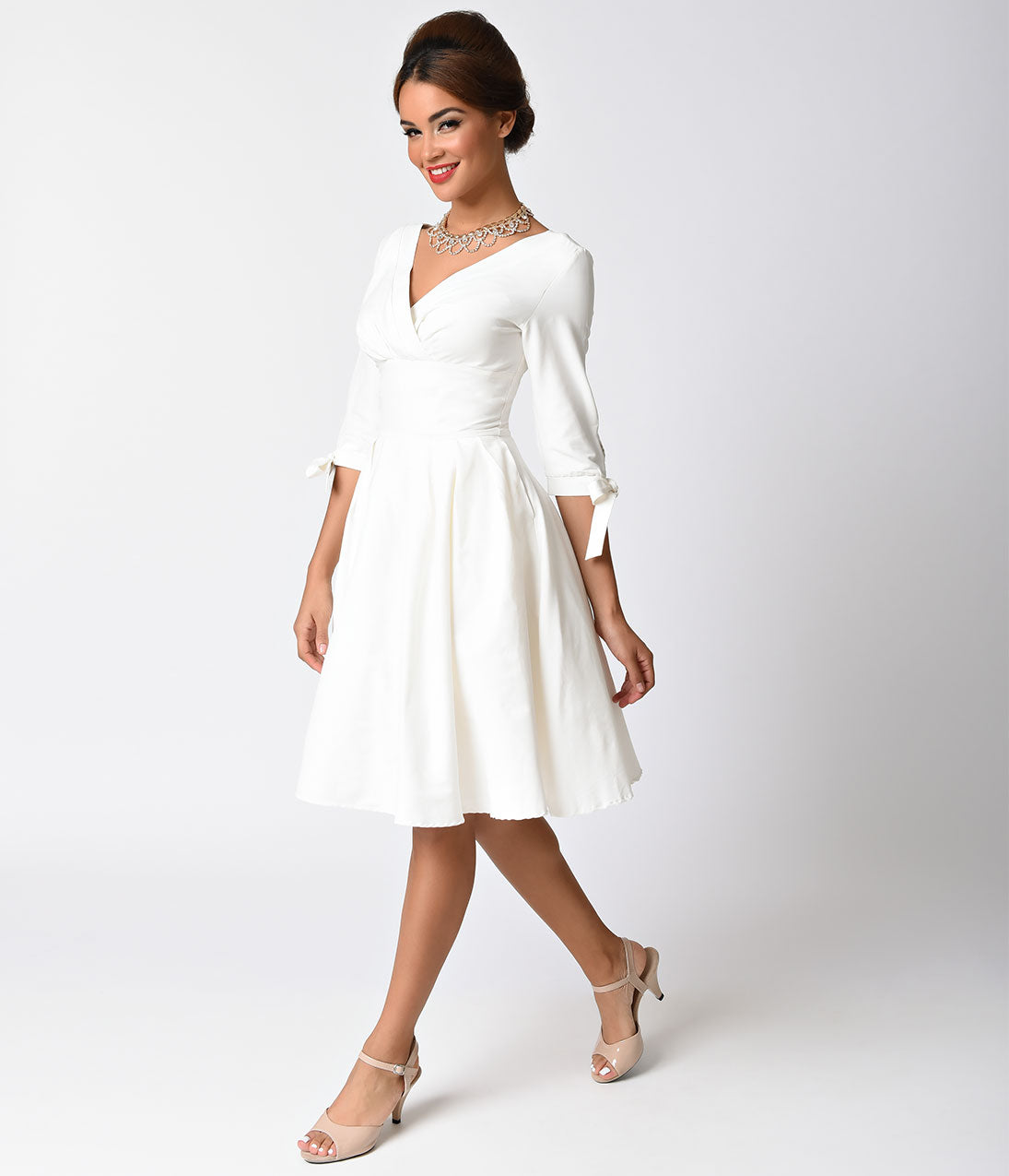 60s Wedding Dress | 1960s Style Wedding Dresses Unique Vintage 1950s Style White Three-Quarter Sleeve Diana Swing Dress $74.00 AT vintagedancer.com