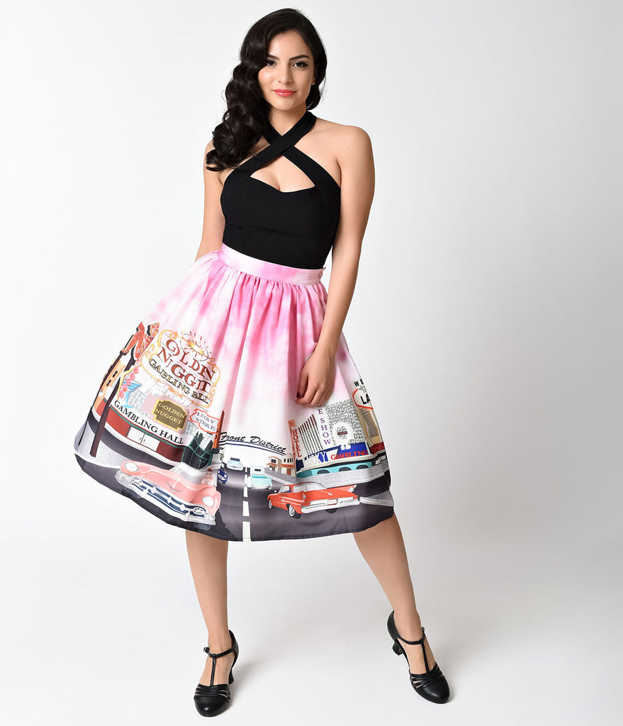 Unique Vintage 1950s Viva Las Vegas High Waist Circle Swing Skirt