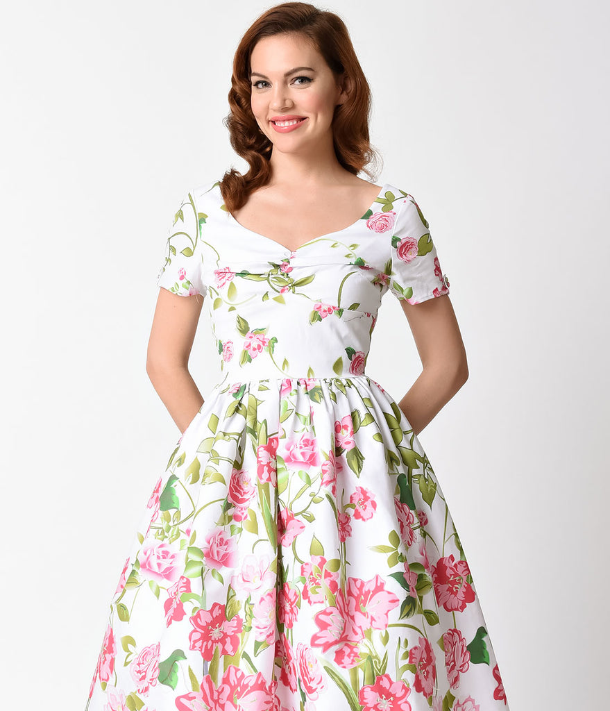 Unique Vintage 1950s Style White & Pink Floral Short Sleeve Whitman Swing Dress