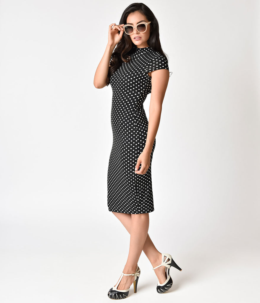 Unique Vintage 1960s Black & White Polka Dot Knit Cap Sleeve Holly Wiggle Dress