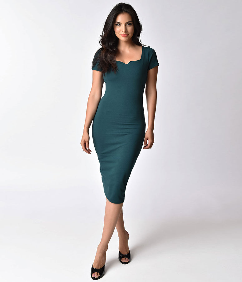 Unique Vintage Dark Teal Short Sleeve Harris Knit Wiggle Dress