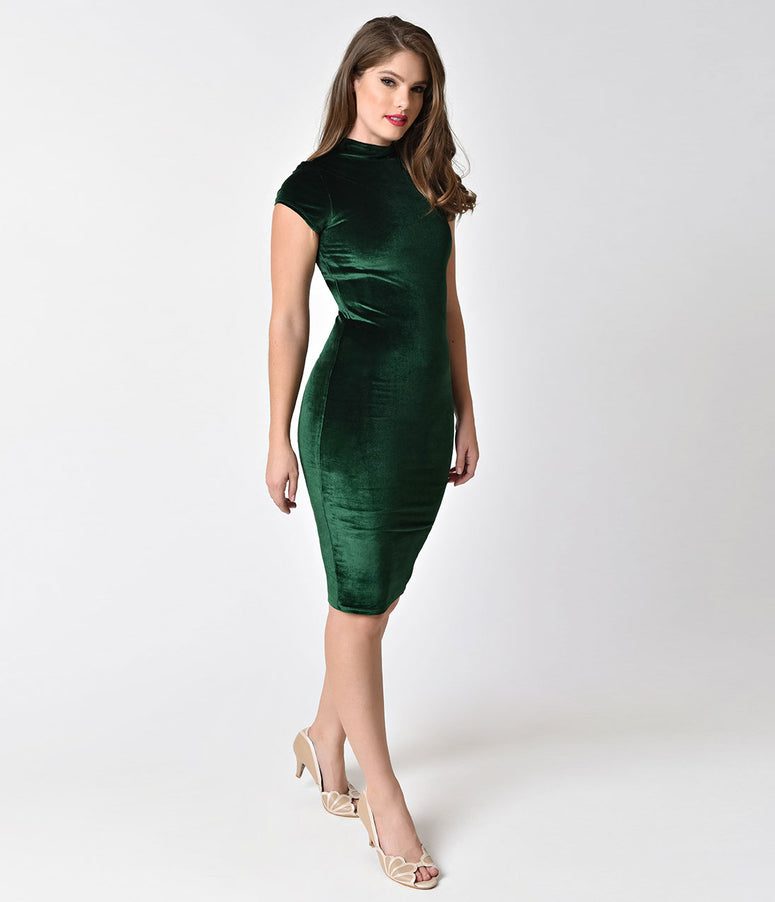 Unique Vintage 1960s Emerald Green Velvet Stretch Knit Cap Sleeve Holly Wiggle Dress