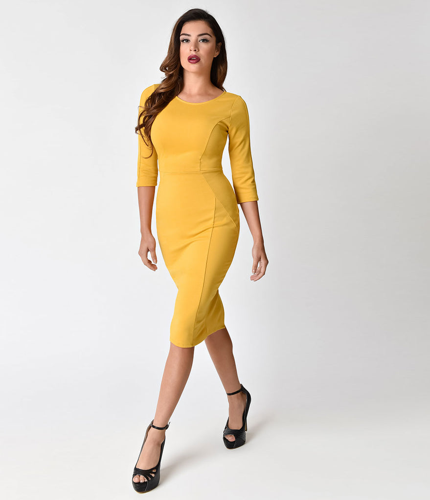 Unique Vintage 1960s Style Mustard Yellow Long Sleeve Mod Wiggle Dress