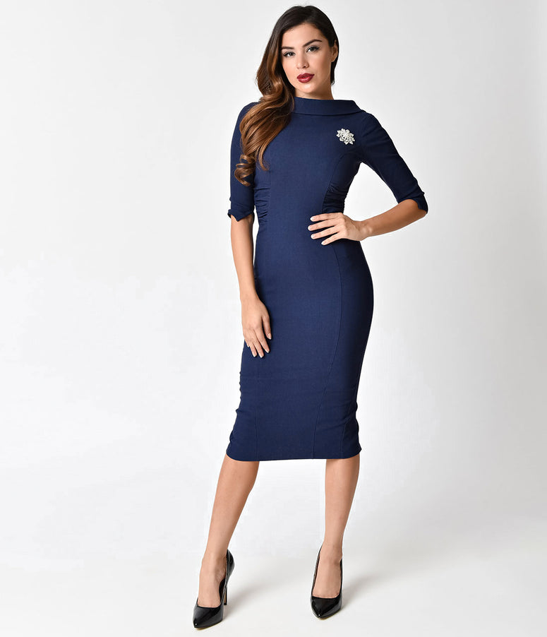 Unique Vintage 1960s Navy Blue Stretch Sleeved Lucinda Wiggle Dress