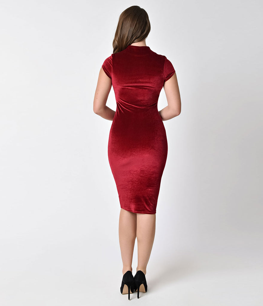 Unique Vintage 1960s Raspberry Red Velvet Stretch Knit Cap Sleeve Holly Wiggle Dress
