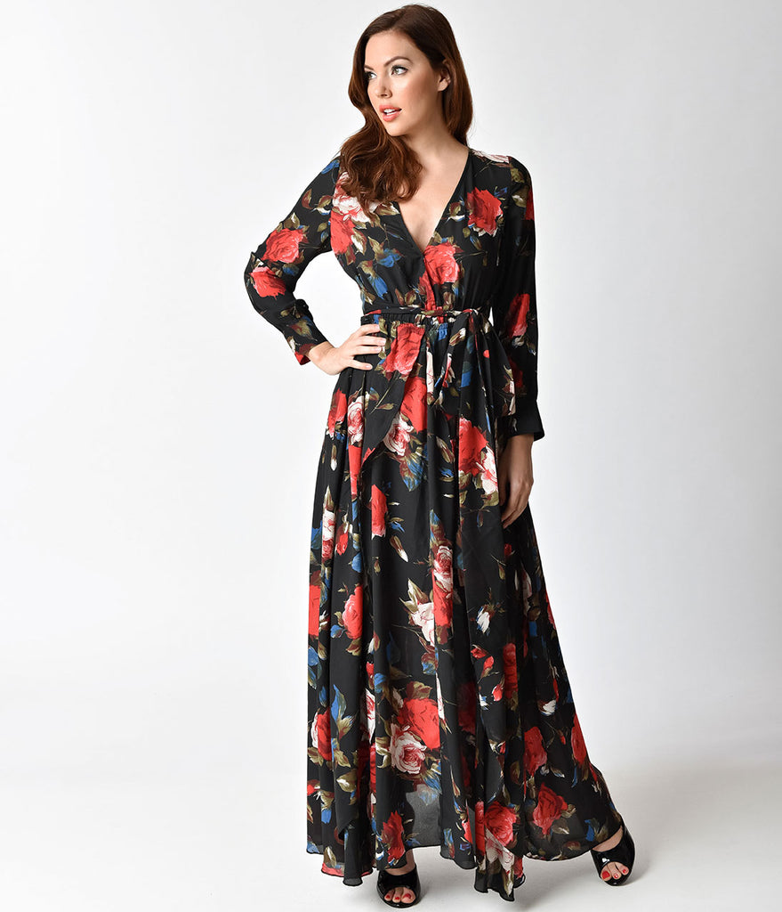 Unique Vintage 1960s Style Black & Red Floral Long Sleeve Farrah Maxi Dress
