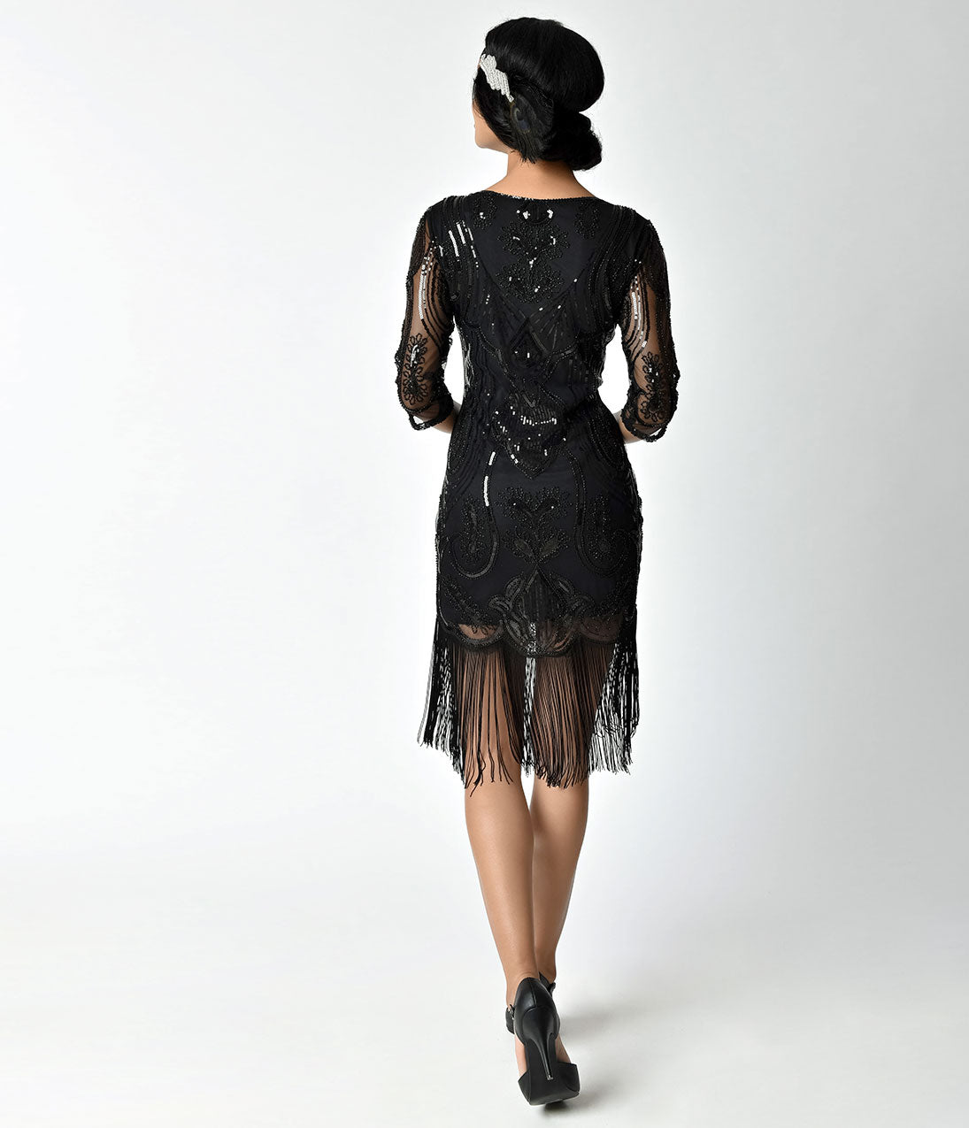 unique vintage black sleeved fringe cocktail new years eve dress