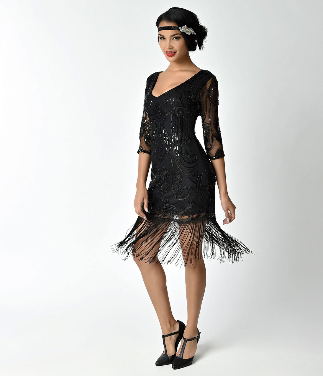 20s Dresses | 1920s Dresses for Sale Unique Vintage Black Beaded  Sequin Margaux Sleeved Fringe Cocktail Dress $110.00 AT vintagedancer.com
