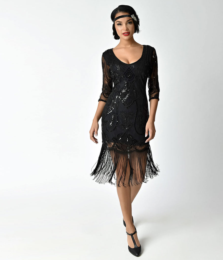 c375372cfb0 ... Unique Vintage Black Beaded   Sequin Margaux Sleeved Fringe Cocktail  Dress ...