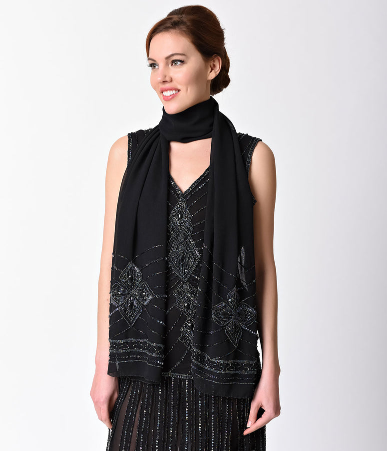 Unique Vintage Black Chiffon Iridescent Beaded Scarf