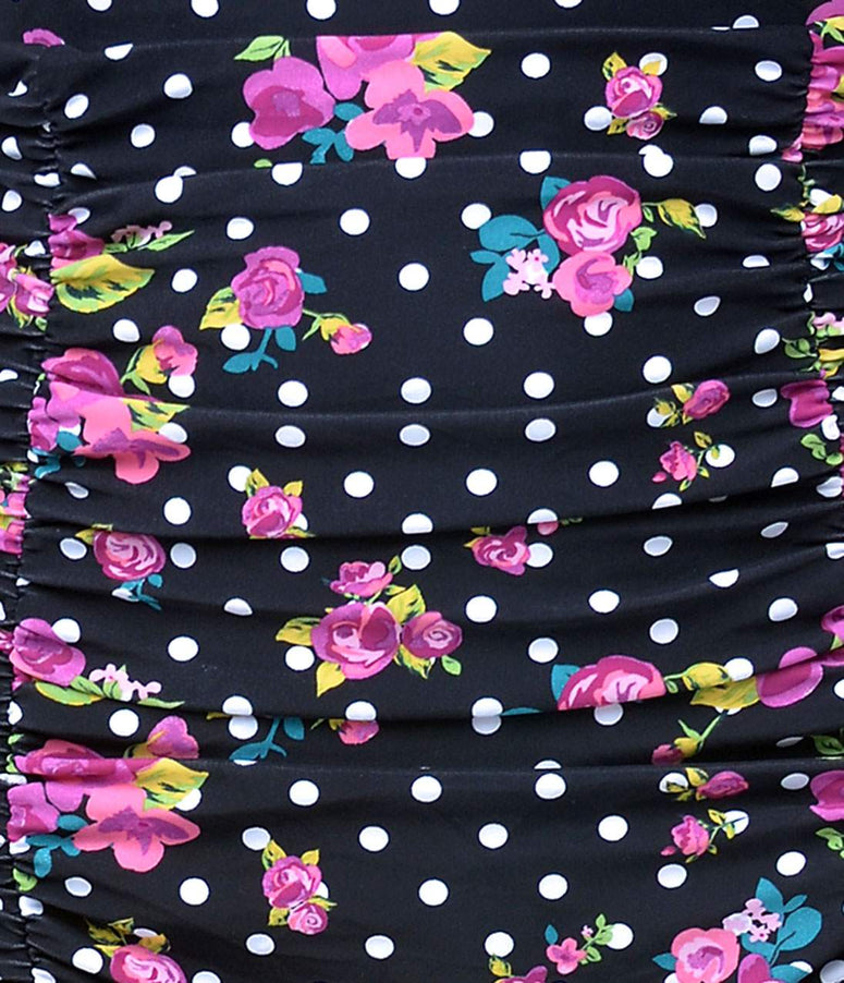 Unique Vintage Black Dot & Pink Floral Monroe High Waist Bottoms