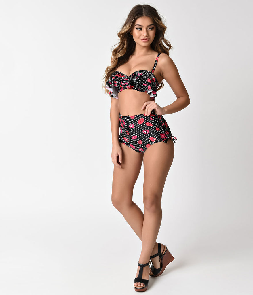 Unique Vintage Black & Dotted Lip Print Lace Up Charlize Swim Bottoms