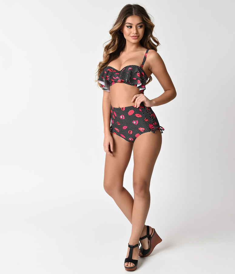 Unique Vintage Black & Dotted Lip Print Ruffled Mrs. Kane Swim Top