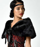 Unique Vintage Black Faux Fur Ribbon Tie Shrug