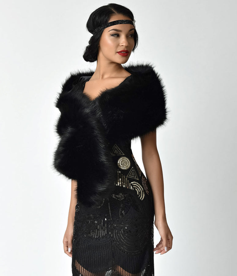 Unique Vintage Black Faux Fur Stole