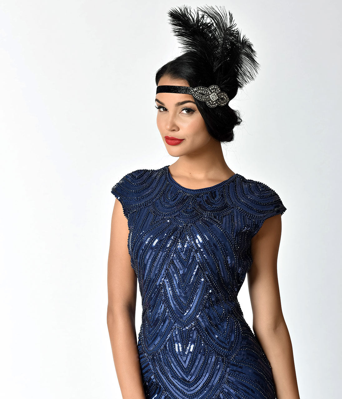 Flapper Costume: How to Dress Like a 20s Flapper Girl Unique Vintage Black Feather  Charcoal Crystal Beading Stretch Headband $28.00 AT vintagedancer.com