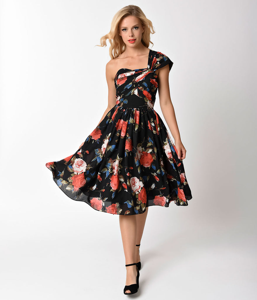 Unique Vintage Black Floral Charisse One Shoulder Dress
