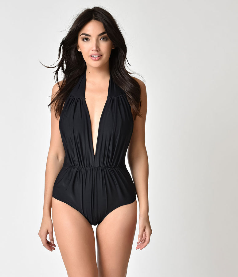 Unique Vintage Black Halter Shirred Derek One Piece Swimsuit