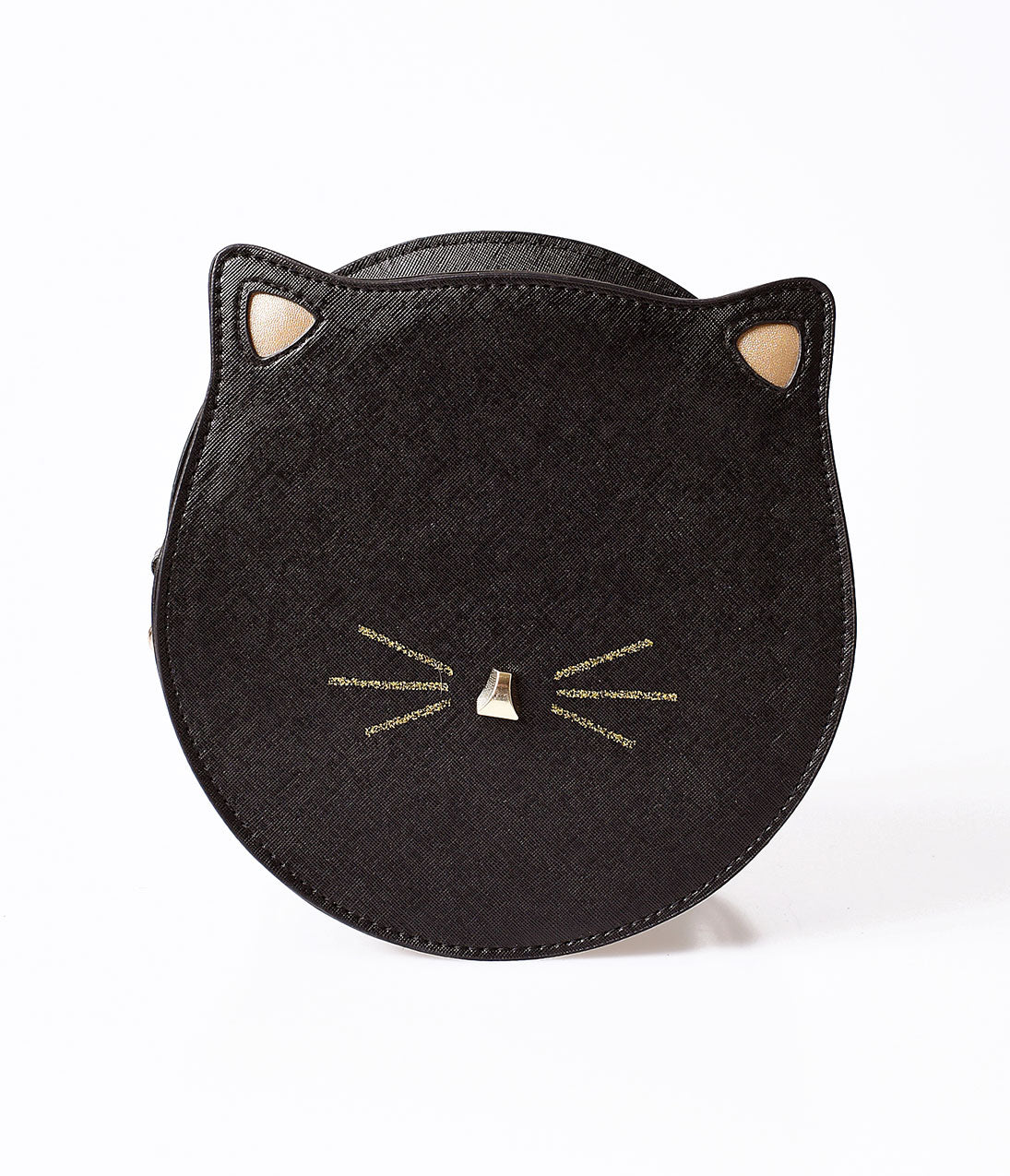 Vintage & Retro Handbags, Purses, Wallets, Bags Unique Vintage Black Leatherette Circle Cat Face Shoulder Bag $27.00 AT vintagedancer.com