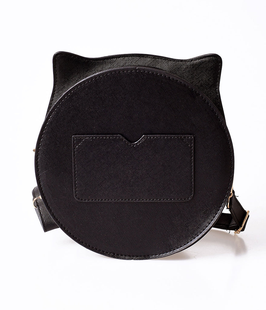 Unique Vintage Black Leatherette Circle Cat Face Shoulder Bag