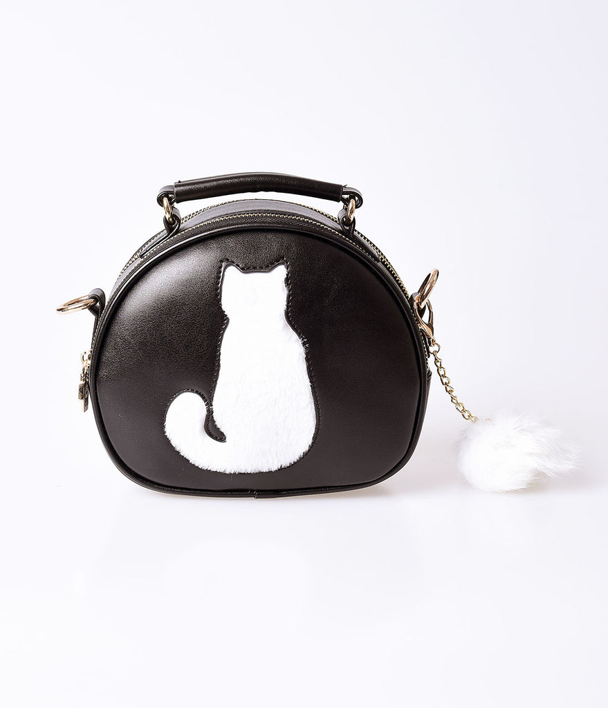 Unique Vintage Black Leatherette & White Cat Pom Pom Handbag