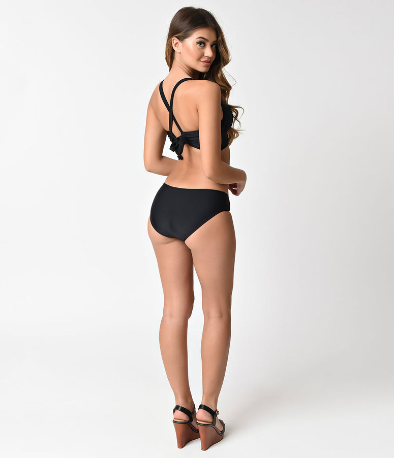 Unique Vintage Black Low Waist Boswell Swim Bottoms