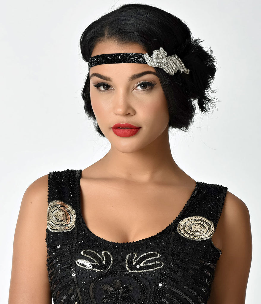 Unique Vintage Black Peacock Feather & Silver Crystal Stretch Headband