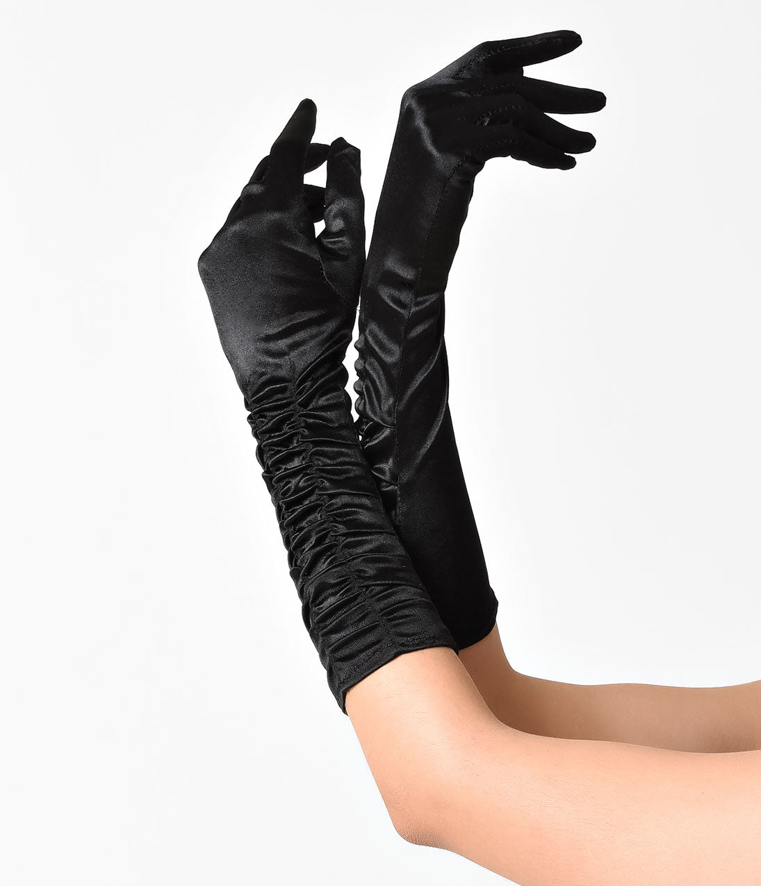 Vintage Gloves History- 1900, 1910, 1920, 1930 1940, 1950, 1960 Unique Vintage Black Ruched Satin Long Gloves $16.00 AT vintagedancer.com