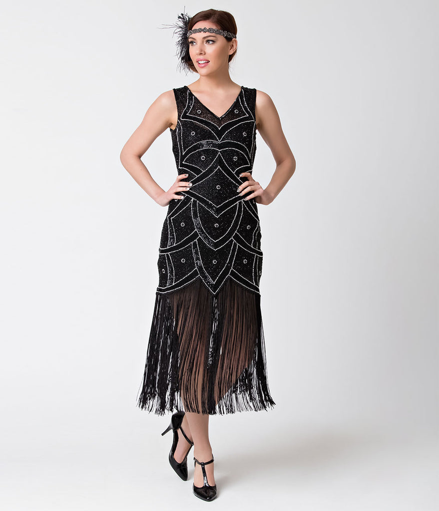 Unique Vintage Black & Silver Beaded Mesh Isadora Fringe Flapper Dress