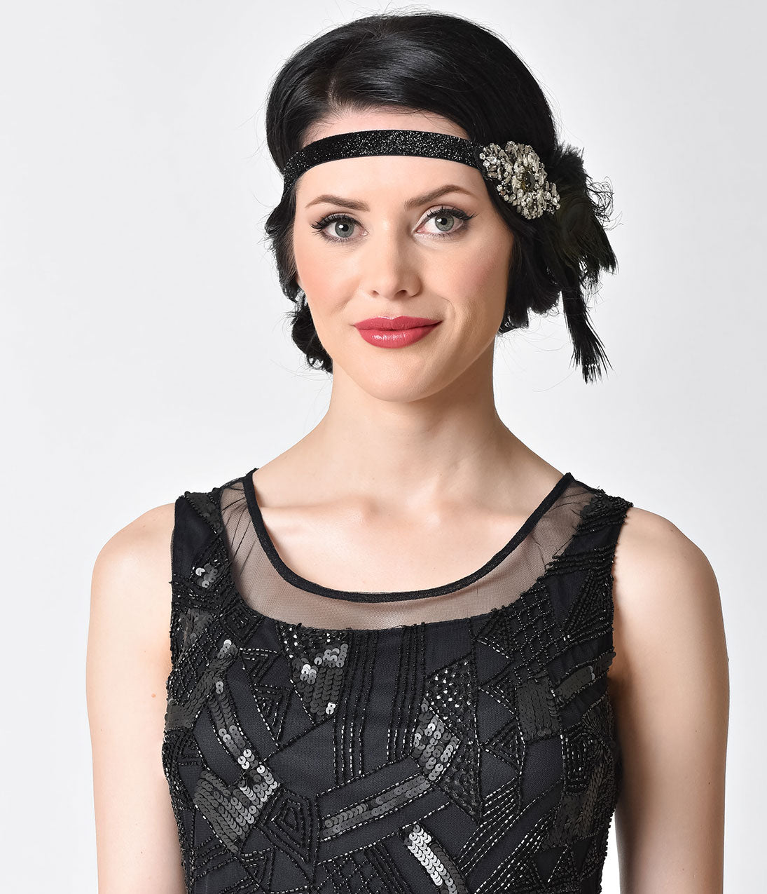 1920s Flapper Headband, Gatsby Headpiece, Wigs Unique Vintage Black  Silver Jeweled Dark Peacock Feather Headband $32.00 AT vintagedancer.com