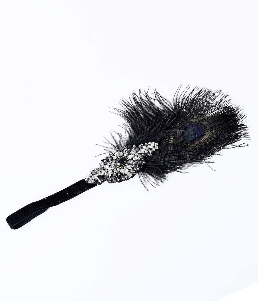 Unique Vintage Black & Silver Jeweled Dark Peacock Feather Headband