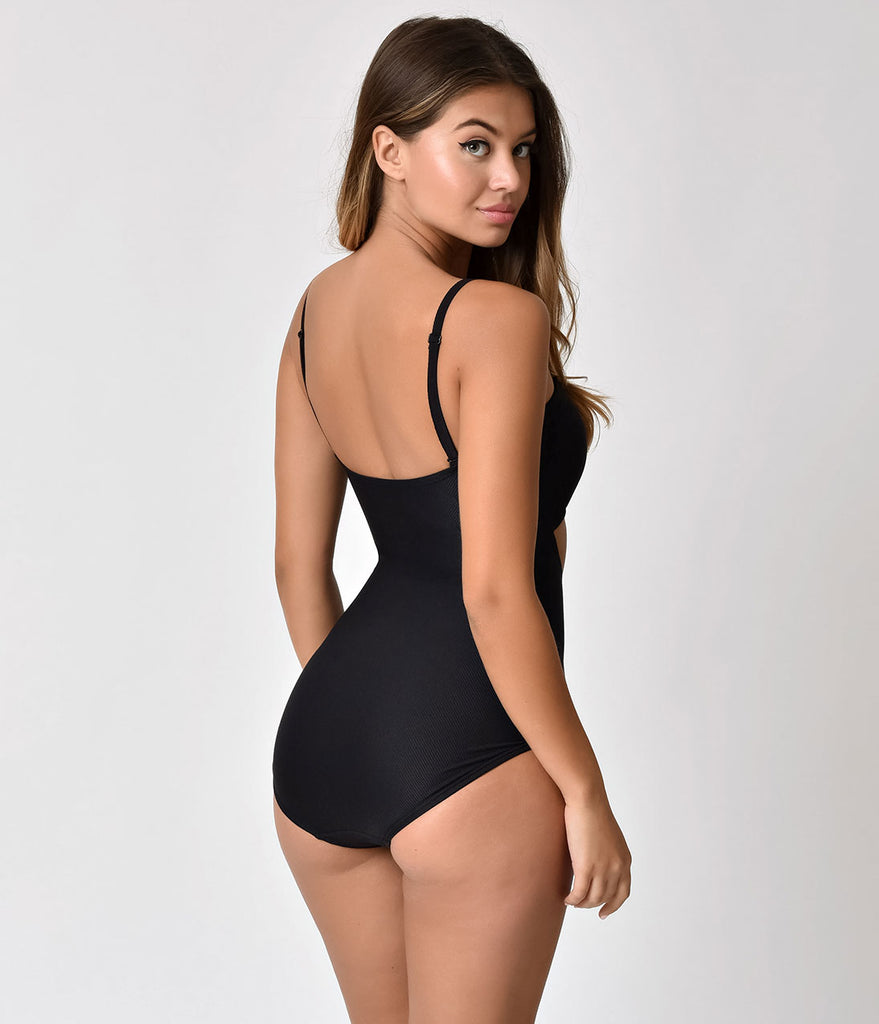Unique Vintage Black Textured Sweetheart Cut Out Rory Swimsuit