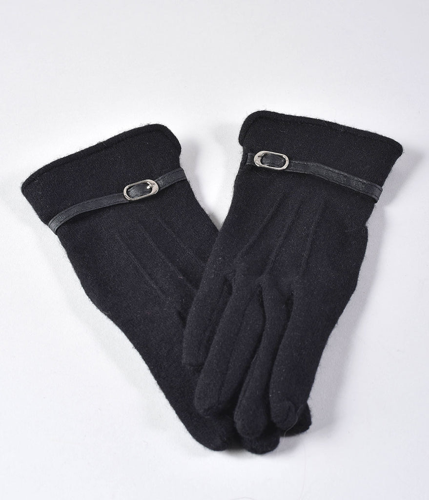 Unique Vintage Black Wool Buckle Trim Wrist Gloves