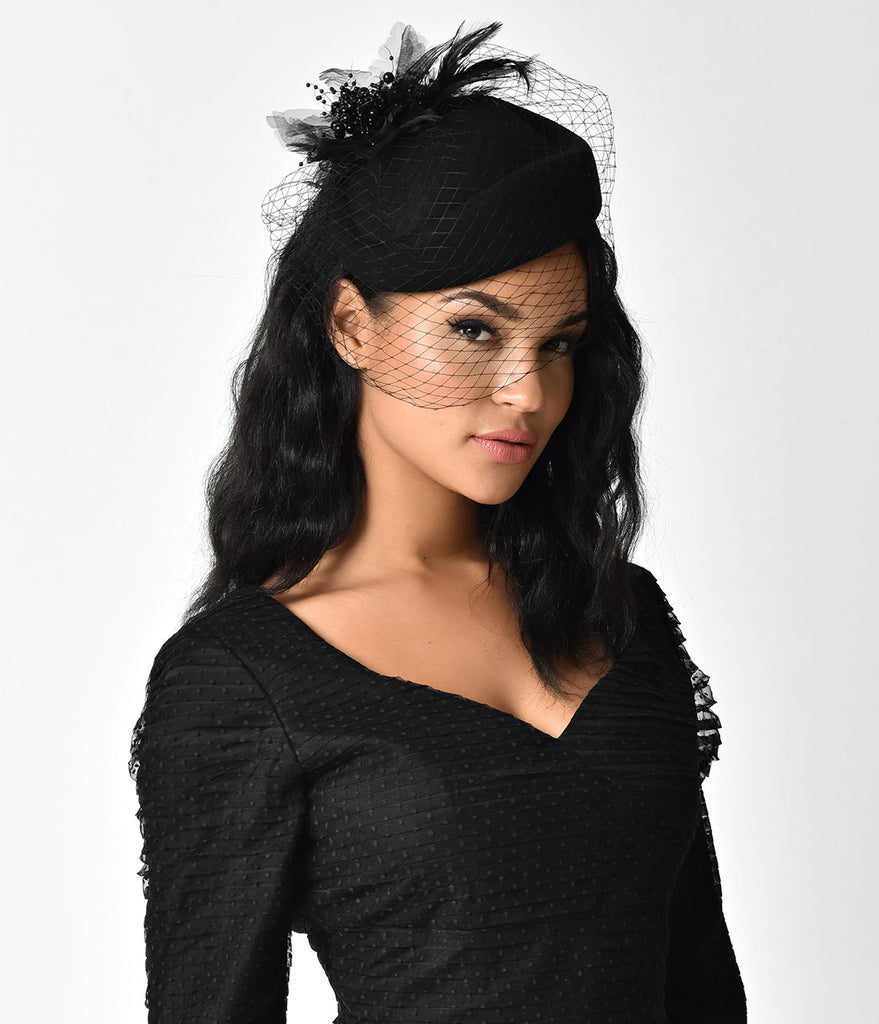 Unique Vintage Black Wool Hat & Feather Veil Fascinator